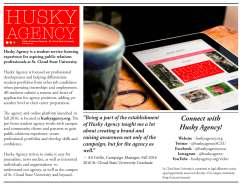 Husky Agency Trifold Brochure, 8.5 X 11, by Jessica Hohnwaldt, Fall 2016