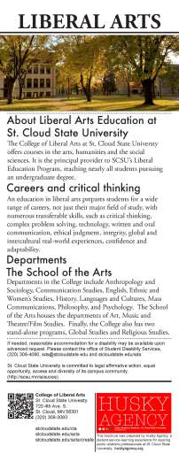 College of Liberal Arts, Vertical Brochure, 4.25 X 11, by Rhiannon Steiger, Fall 2016