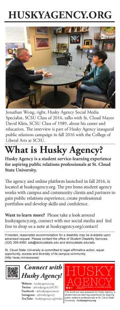 Husky Agency, Poster, 4.25 X 11, by Jessica Hohnwaldt, Fall 2016